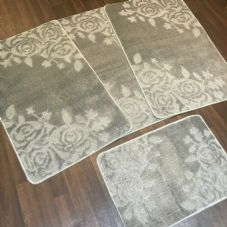 ROMANY GYPSY WASHABLES SET OF TOURER SIZE 67X110CM MATS-RUGS SILVER/GREY SHAPED